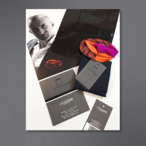 Package Design for Pocket Art, Business Card, Hang-tag, promotional Card, and gloss black bag with matte black logo.